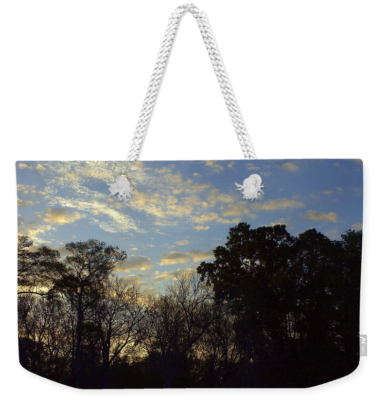River Weekender Tote Bag featuring the photograph Sunrise On The River by Debra Forand