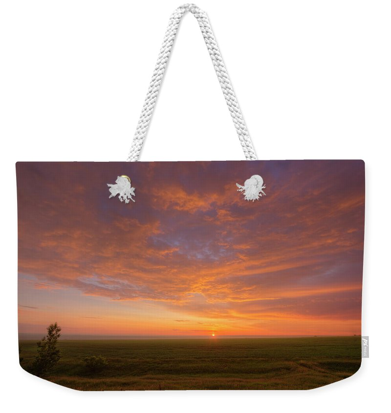 Alan Dyer Weekender Tote Bag featuring the photograph Sunrise Over Prairies by Alan Dyer