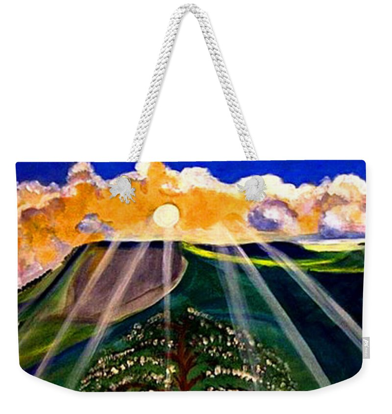 Landscape Weekender Tote Bag featuring the painting Sunrise Over The Darren by Rusty Gladdish