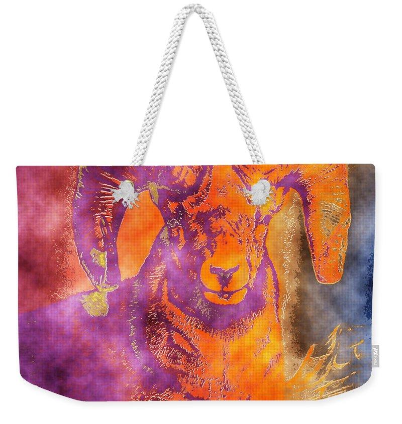 Wildlife Art Paintings Weekender Tote Bag featuring the painting Sunrise Ram Water Color by Mayhem Mediums
