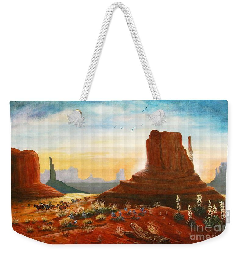 Monument Valley Scene Weekender Tote Bag featuring the painting Sunrise Stampede by Marilyn Smith