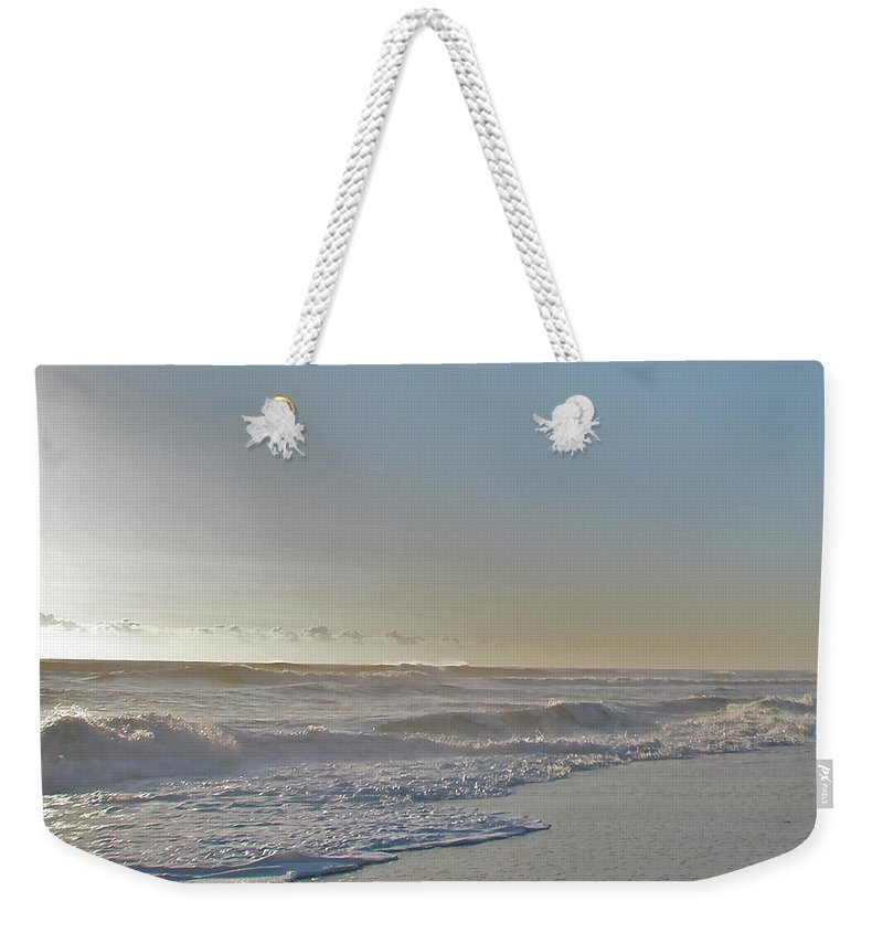 Sunrise Weekender Tote Bag featuring the photograph Sunrise Surf - Island Beach State Park Nj by Mother Nature