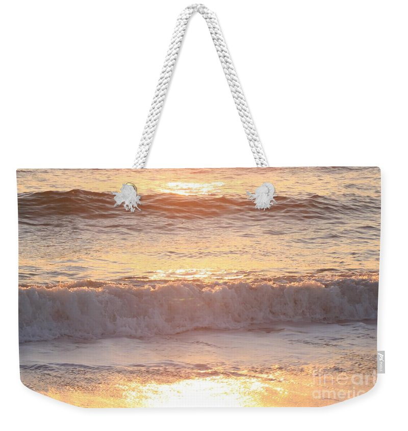 Waves Weekender Tote Bag featuring the photograph Sunrise Waves by Nadine Rippelmeyer