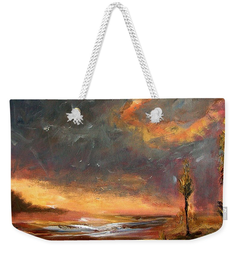 Original Weekender Tote Bag featuring the painting Sunrise With Birds by Julianne Felton