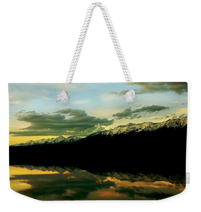 Mountains Weekender Tote Bag featuring the photograph Sunset 1 Rainy Lake by Janie Johnson
