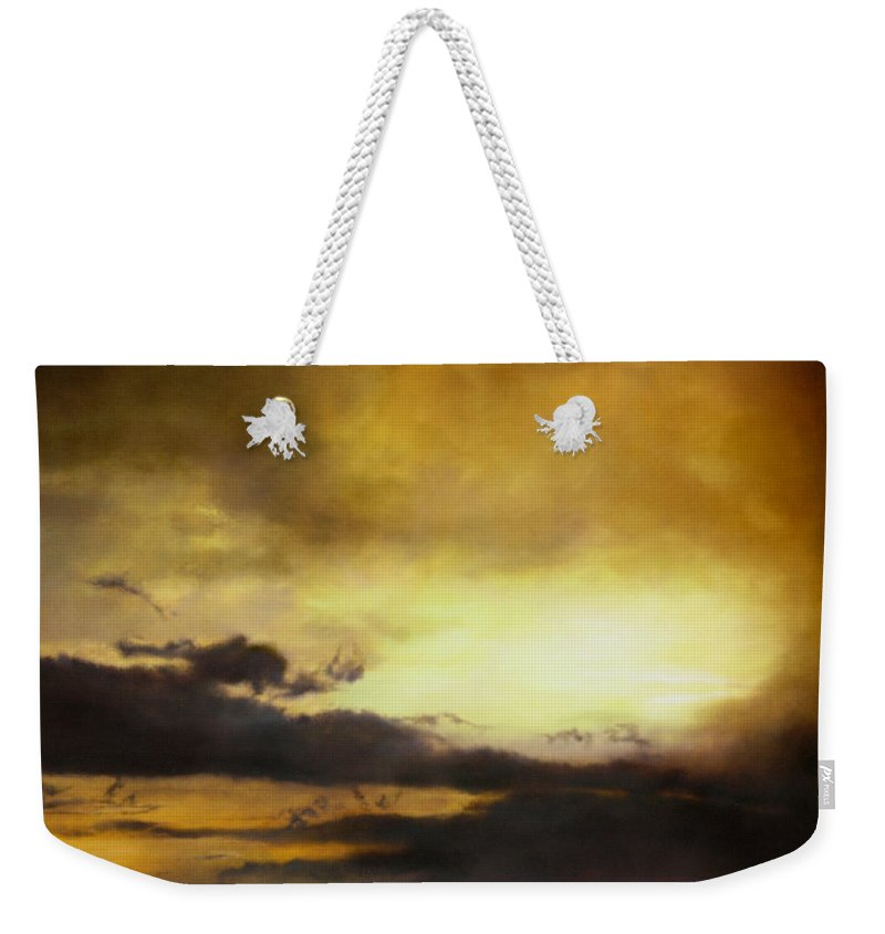 Sunset Weekender Tote Bag featuring the painting Pouzol Sunset 92 X 122cm by Thomas Darnell