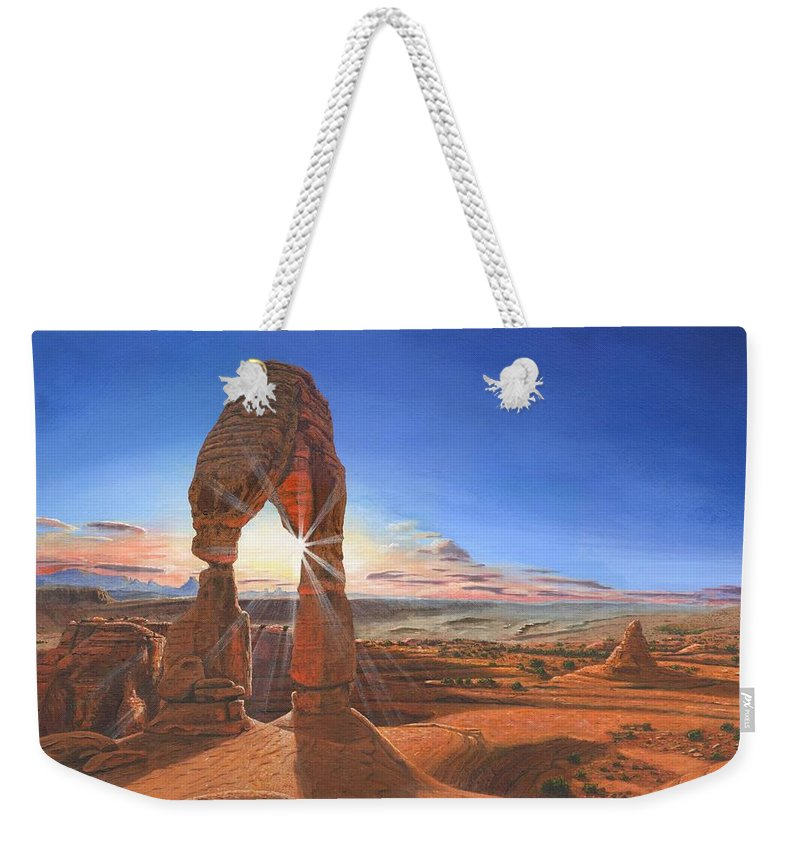 Delicate Arch Weekender Tote Bag featuring the painting Sunset At Delicate Arch Utah by Richard Harpum