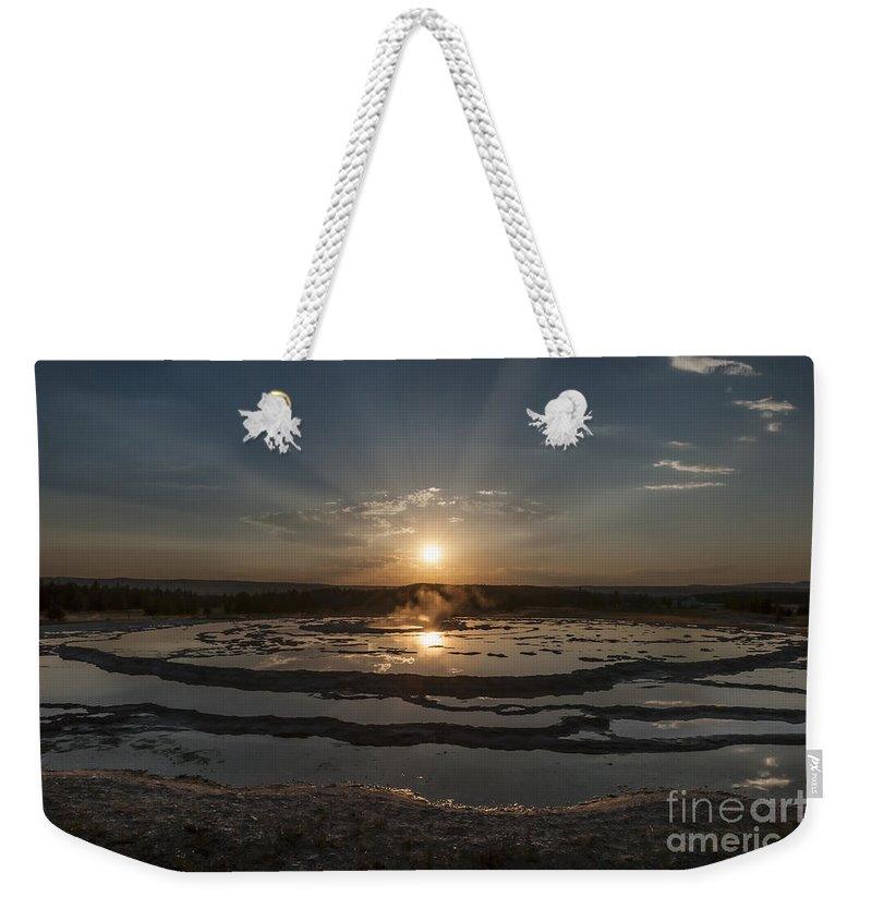 Yellowstone Weekender Tote Bag featuring the photograph Sunset At Great Fountain Geyser - Yellowstone by Sandra Bronstein