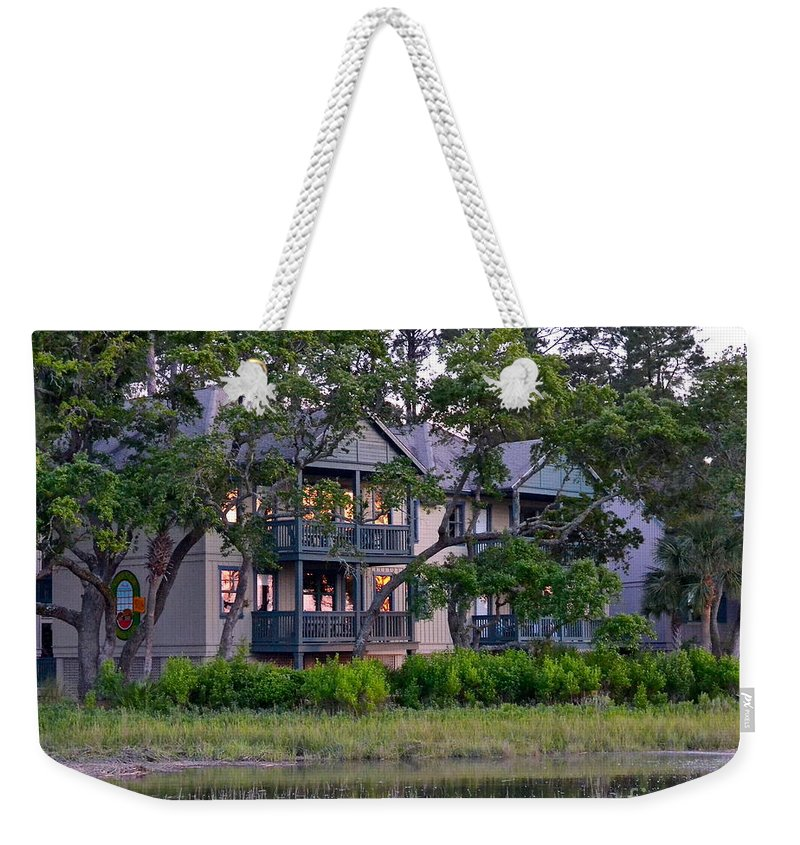 Sunset Weekender Tote Bag featuring the photograph Sunset At Hilton Head by Carol Bradley