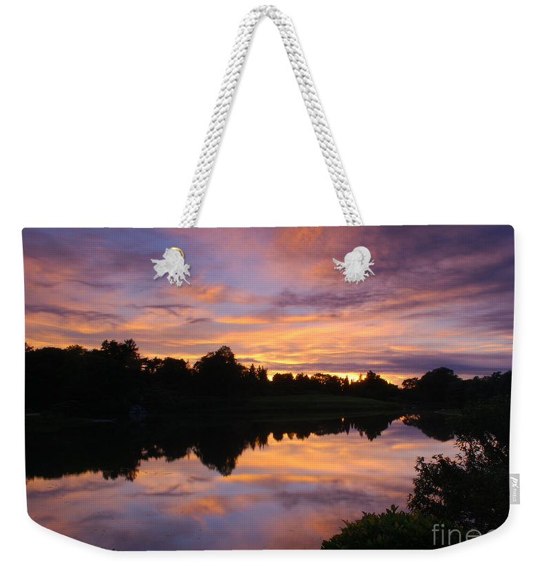 Sunset Weekender Tote Bag featuring the photograph Sunset At Japanese Garden by Nancy Mueller