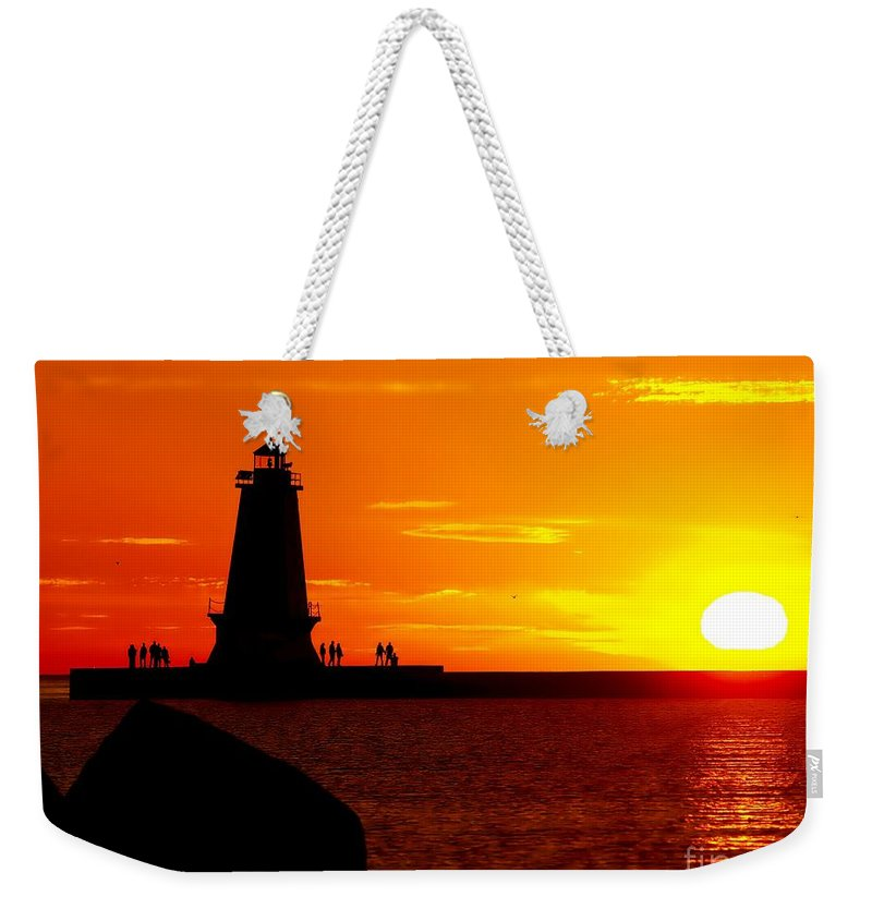 America Weekender Tote Bag featuring the photograph Sunset At Ludington by Nick Zelinsky