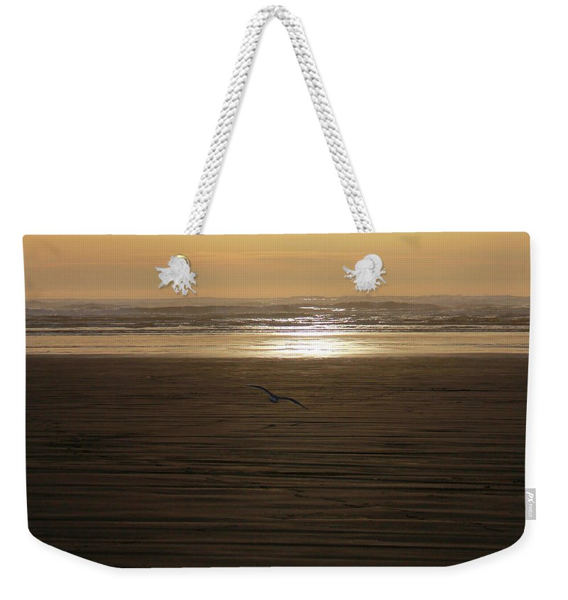 Ocean Weekender Tote Bag featuring the photograph Sunset At Ocean Shores II by Jeanette C Landstrom
