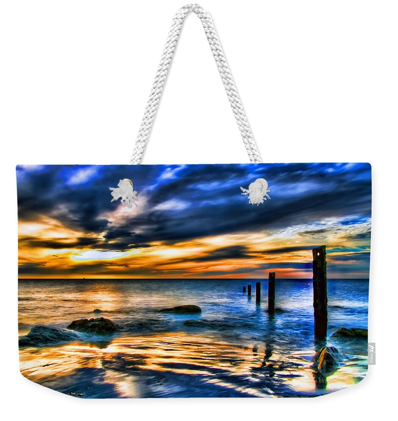 Sunset Weekender Tote Bag featuring the painting Sunset At Washed Out Pier by Elaine Plesser