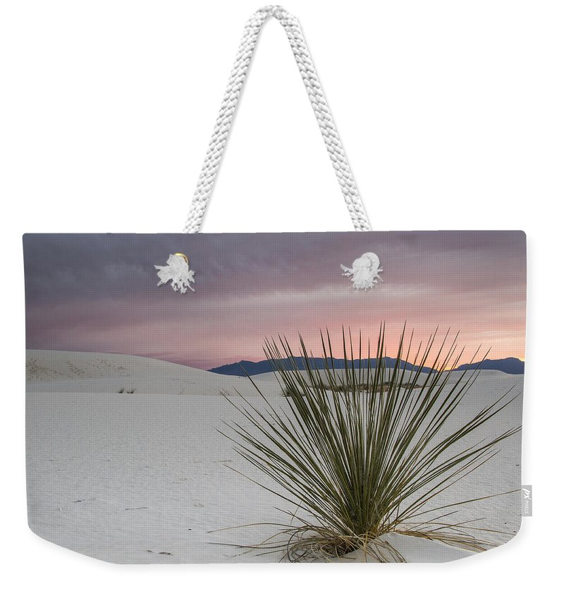 Jean Noren Weekender Tote Bag featuring the photograph Sunset At White Sands by Jean Noren