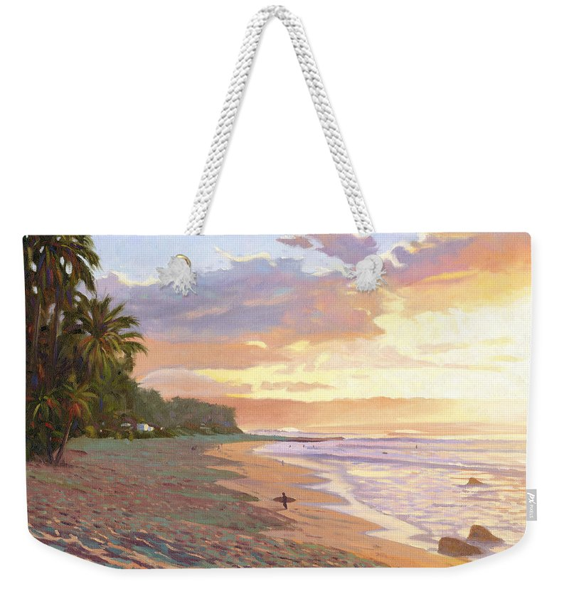 Sunset Beach Weekender Tote Bag featuring the painting Sunset Beach - Oahu by Steve Simon