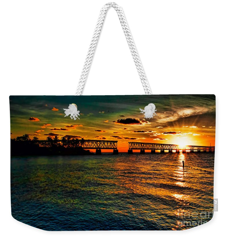 Bahia Weekender Tote Bag featuring the photograph Sunset Bridge by Photos By Cassandra