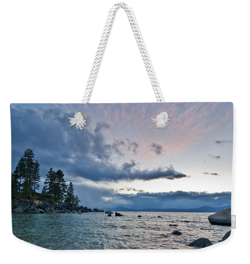 Clouds Weekender Tote Bag featuring the photograph Sunset Drama At Tahoe by Dianne Phelps