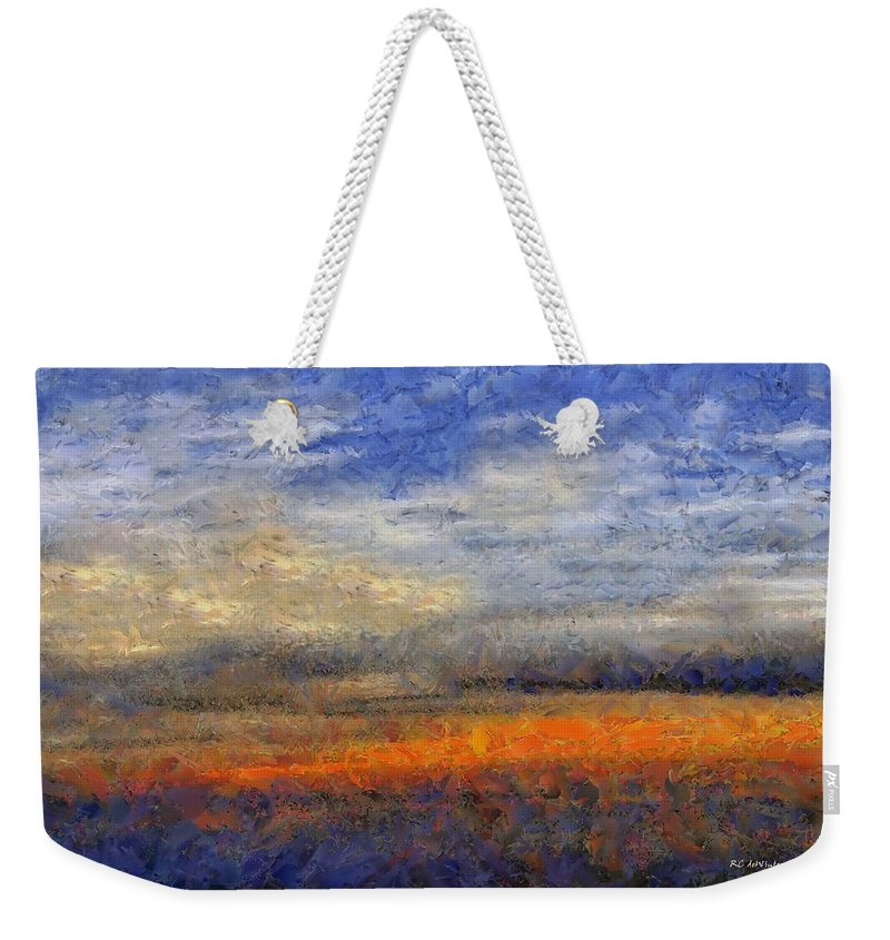 Landscape Weekender Tote Bag featuring the painting Sunset Field by RC DeWinter