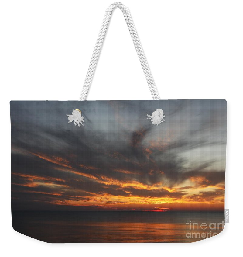 Sunset Weekender Tote Bag featuring the photograph Sunset Fiery Sky by Christiane Schulze Art And Photography