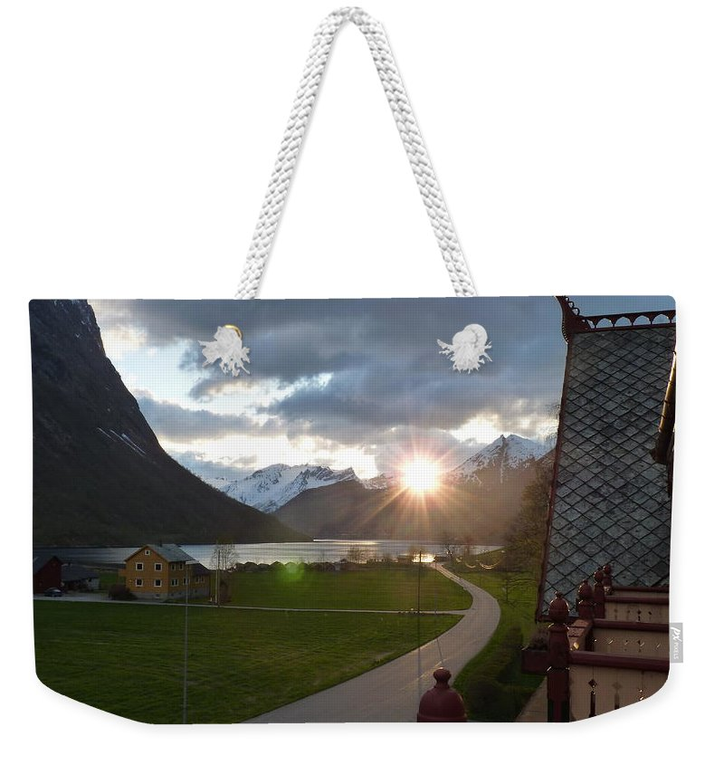 Weekender Tote Bag featuring the photograph Sunset From Above by Katerina Naumenko