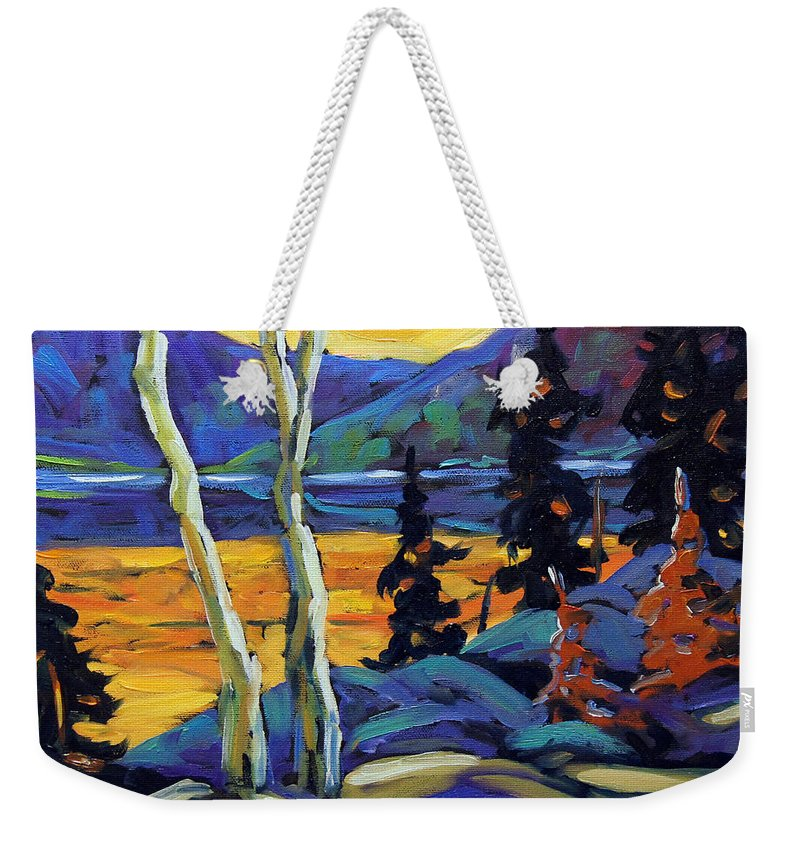 City Weekender Tote Bag featuring the painting Sunset Geo Landscape Original Oil Painting By Prankearts by Richard T Pranke