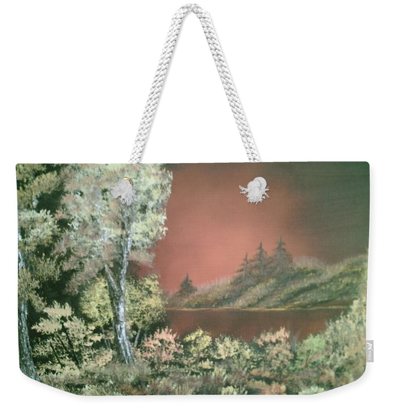 Landscape Weekender Tote Bag featuring the painting Sunset Glow by Jim Saltis