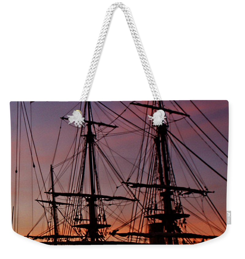 San Diego Weekender Tote Bag featuring the photograph Sunset In San Diego Harbor by Tommy Anderson