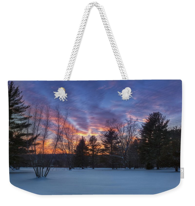 Sunset Weekender Tote Bag featuring the photograph Sunset In The Park by Bill Wakeley