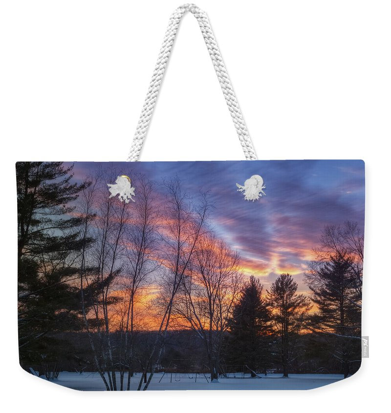 Sunset Weekender Tote Bag featuring the photograph Sunset In The Park Square by Bill Wakeley