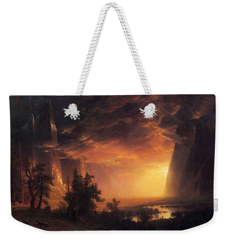 Albert Bierstadt Weekender Tote Bag featuring the painting Sunset In The Yosemite Valley by Albert Bierstadt