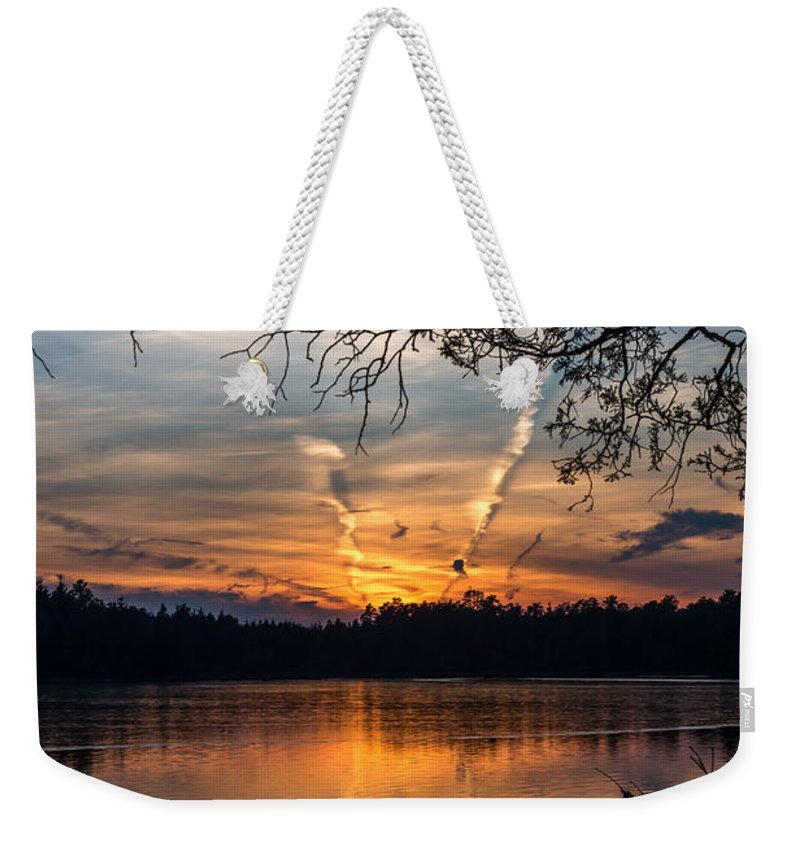 Sunset Lake Horicon Lakehurst New Jersey Weekender Tote Bag featuring the photograph Sunset Lake Horicon Lakehurst New Jersey by Terry DeLuco
