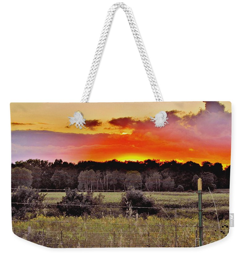 Sunset Sky Weekender Tote Bag featuring the photograph Sunset Meadow by Marilyn Smith