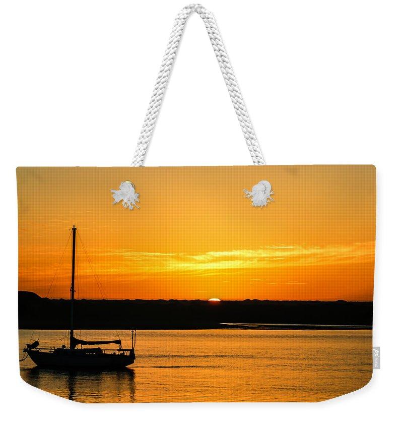 Sunset Morro Bay California Weekender Tote Bag featuring the photograph Sunset Morro Bay California by Ernie Echols