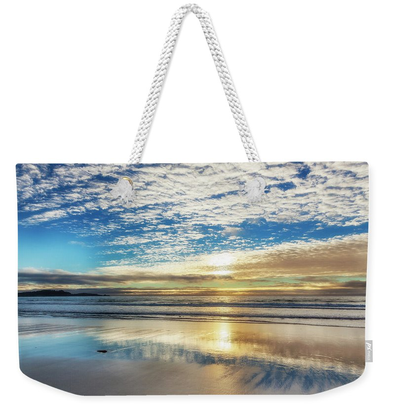 Tranquility Weekender Tote Bag featuring the photograph Sunset On Carmel Beach, California by Alvis Upitis