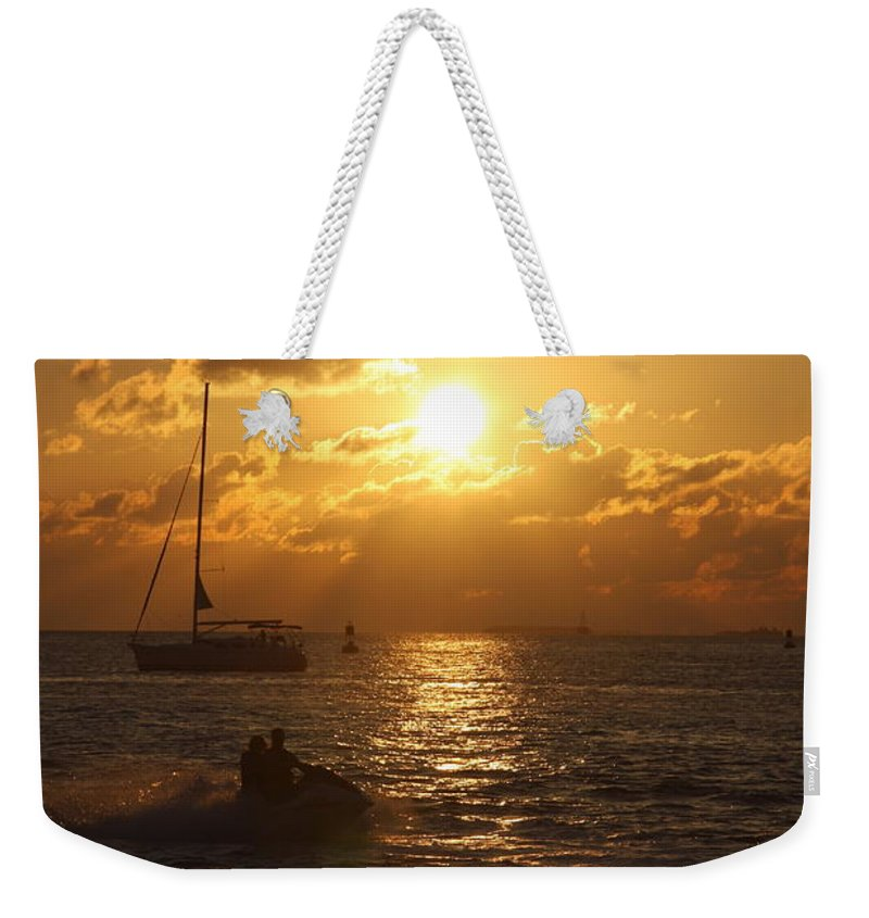 Sunset Weekender Tote Bag featuring the photograph Sunset Over Key West by Christiane Schulze Art And Photography