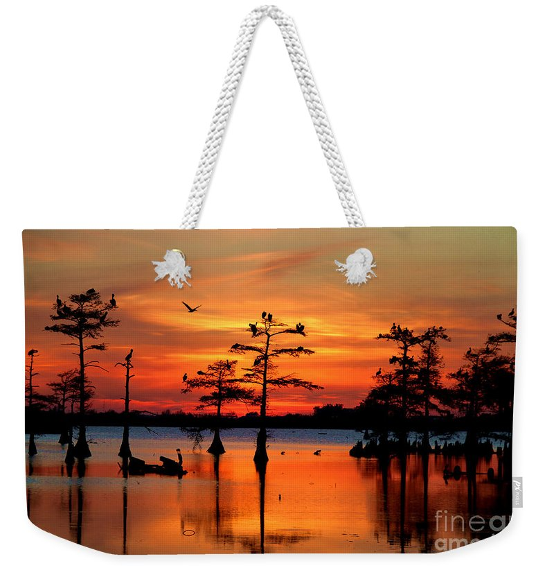 Everglades Weekender Tote Bag featuring the photograph Sunset On The Bayou by Carey Chen