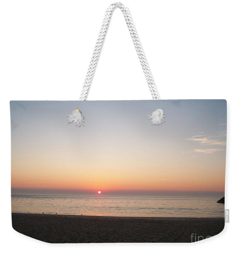 Atlantic Weekender Tote Bag featuring the photograph Sunset On The Delaware Sunset Beach by Eric Schiabor
