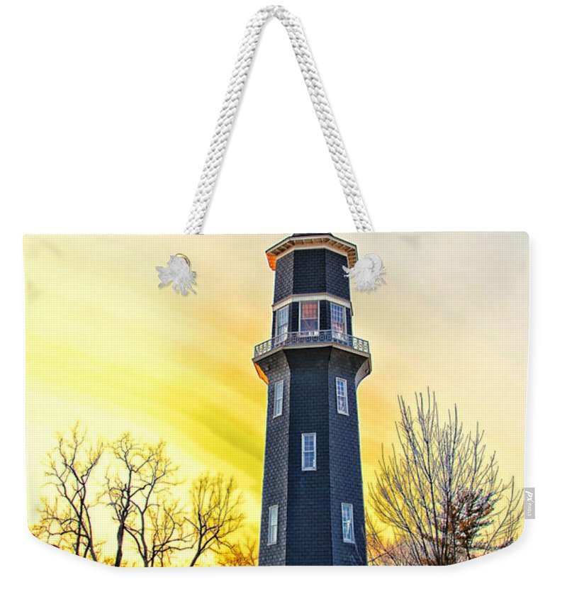 Windmill Weekender Tote Bag featuring the photograph Sunset On The Dwight Windmill by Thomas Woolworth