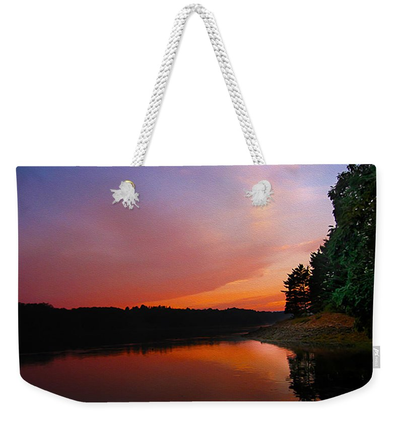 Kennebec River Weekender Tote Bag featuring the painting Sunset On The Kennebec River by Tom Kostro