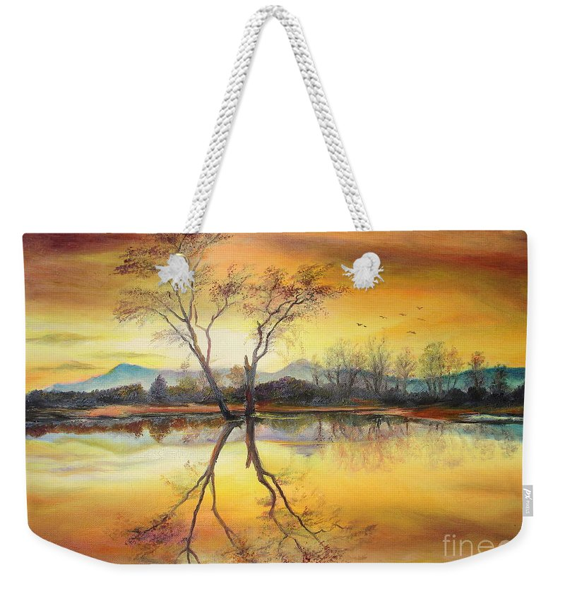 Autumn Weekender Tote Bag featuring the painting Sunset On The Lake by Sorin Apostolescu