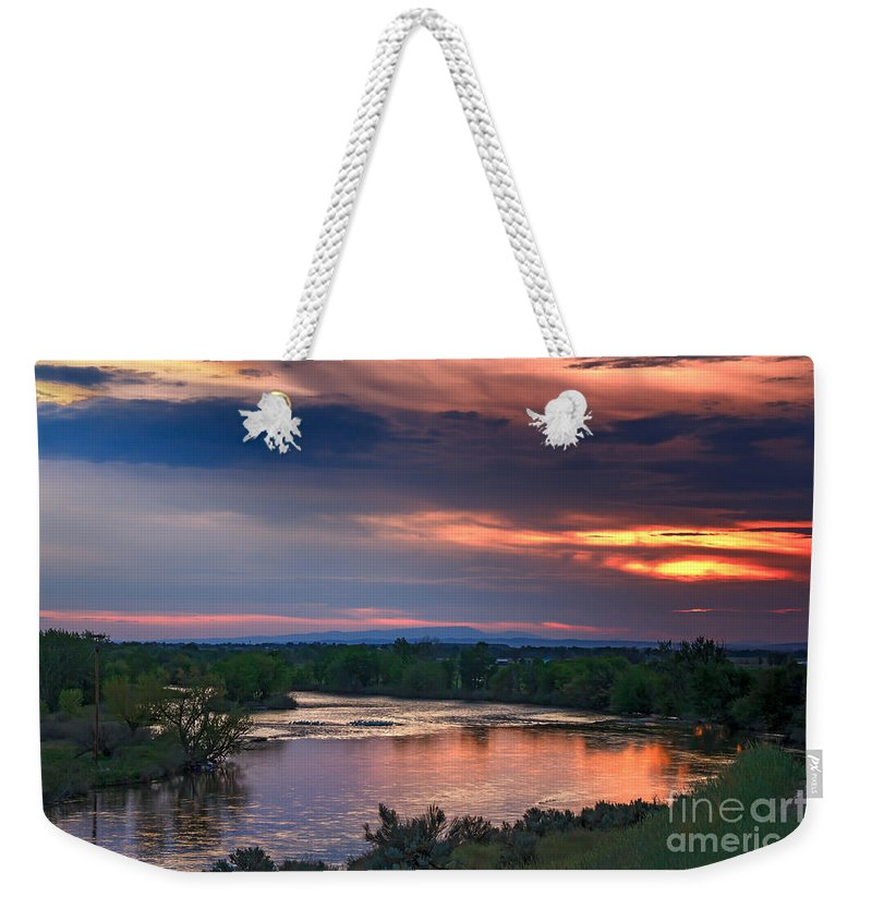 Sunset Weekender Tote Bag featuring the photograph Sunset On The Payette River by Robert Bales