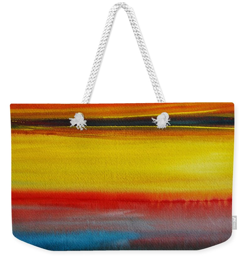 The Puget Sound Weekender Tote Bag featuring the painting Sunset On The Puget Sound by Jani Freimann
