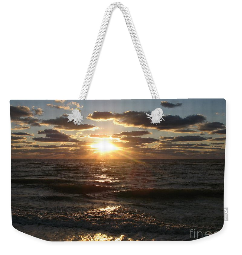 Sunset Weekender Tote Bag featuring the photograph Sunset On Venice Beach by Christiane Schulze Art And Photography