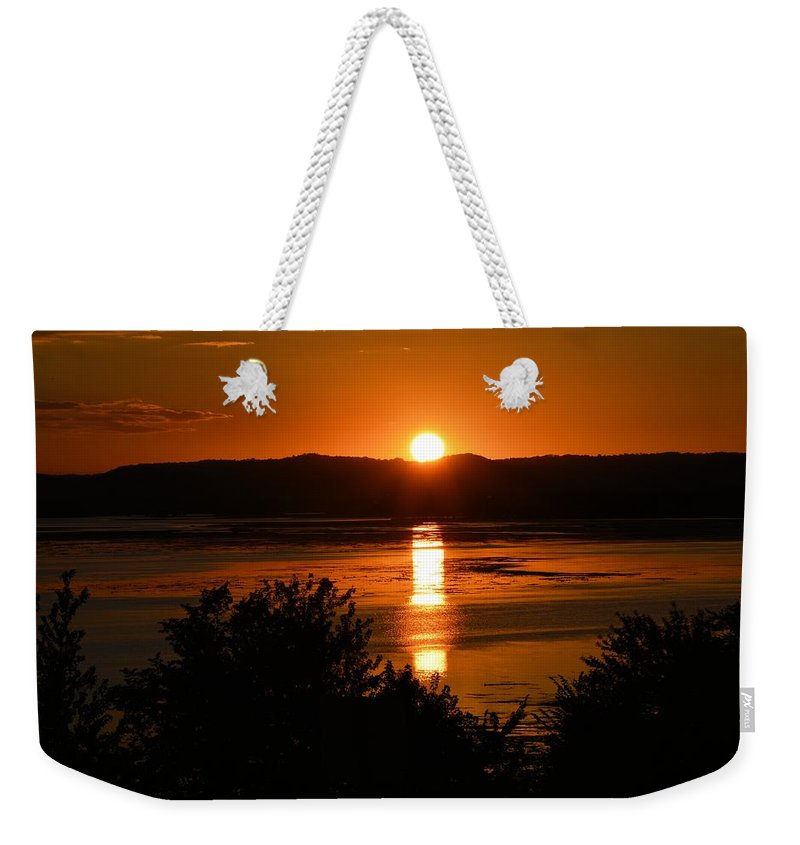 Lake Winnesheik Weekender Tote Bag featuring the photograph Sunset On Winnesheik by Bonfire Photography