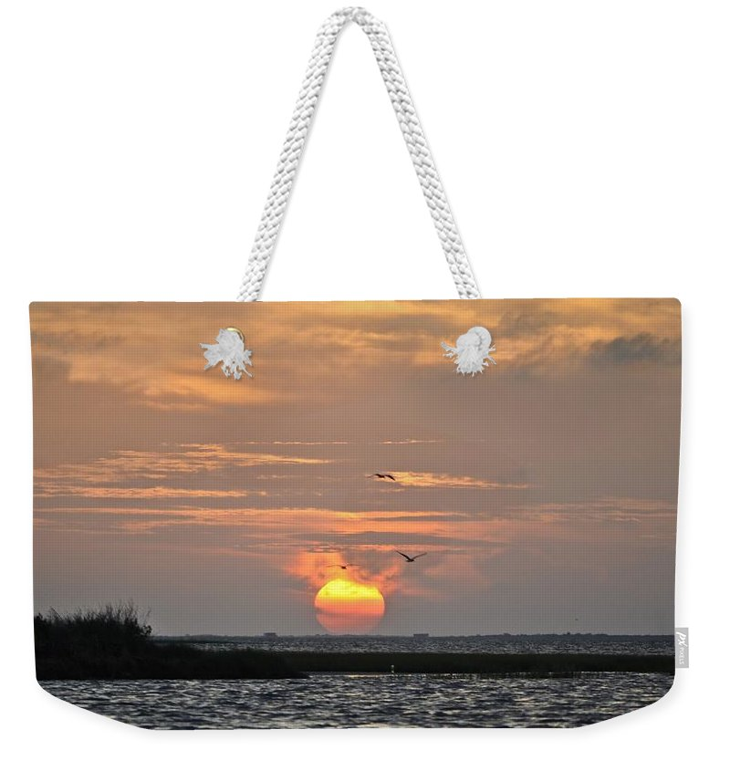 Galveston Weekender Tote Bag featuring the photograph Sunset Over Lake Como by Kristina Deane