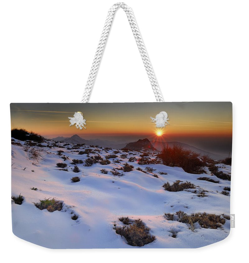 Sunset Weekender Tote Bag featuring the photograph sunset over National park Sierra Nevada by Guido Montanes Castillo