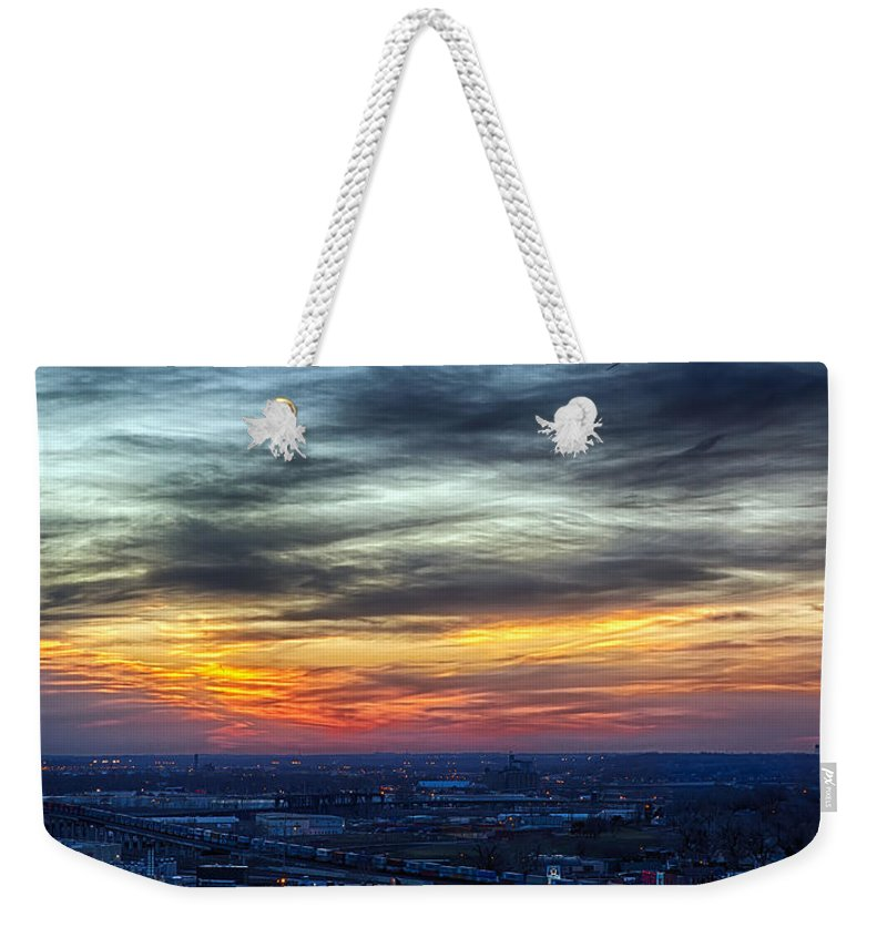 Kansas City Weekender Tote Bag featuring the photograph Sunset Over The Metro by Sennie Pierson