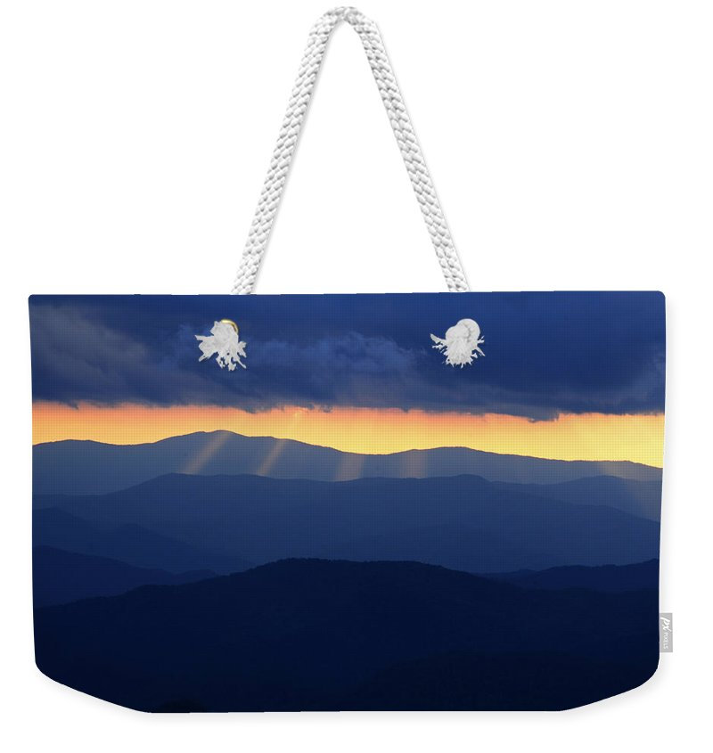 Smokies Weekender Tote Bag featuring the photograph Sunset Over The Smokies by Eric Albright