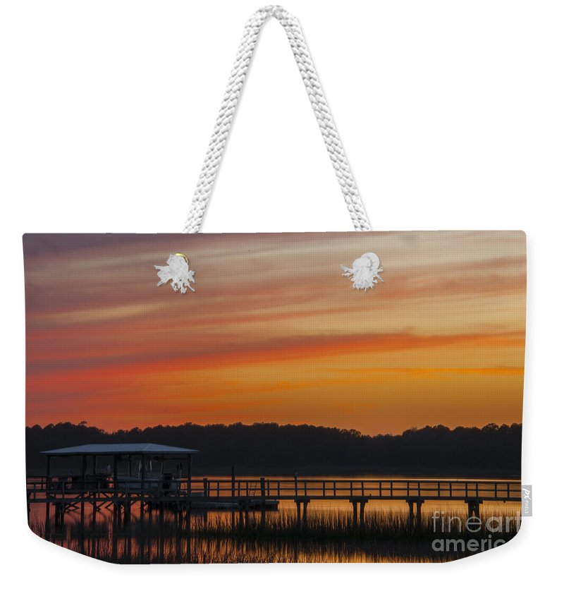 Sunset Weekender Tote Bag featuring the photograph Sunset Over The Wando River by Dale Powell