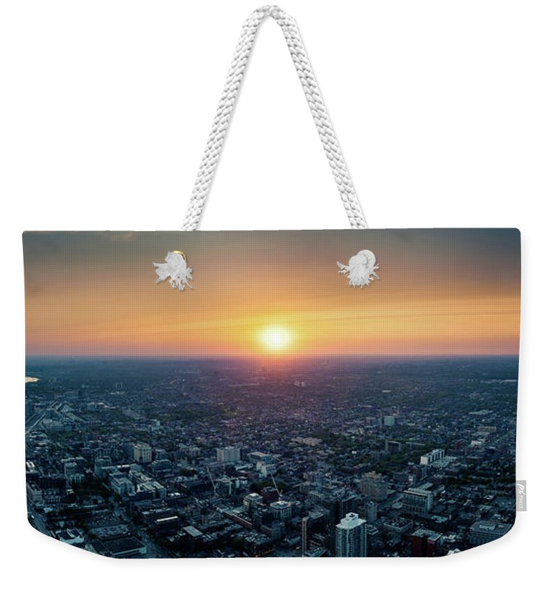 Downtown District Weekender Tote Bag featuring the photograph Sunset Over Toronto Downtown City by D3sign